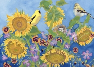 Goldfinches with Sunflowers